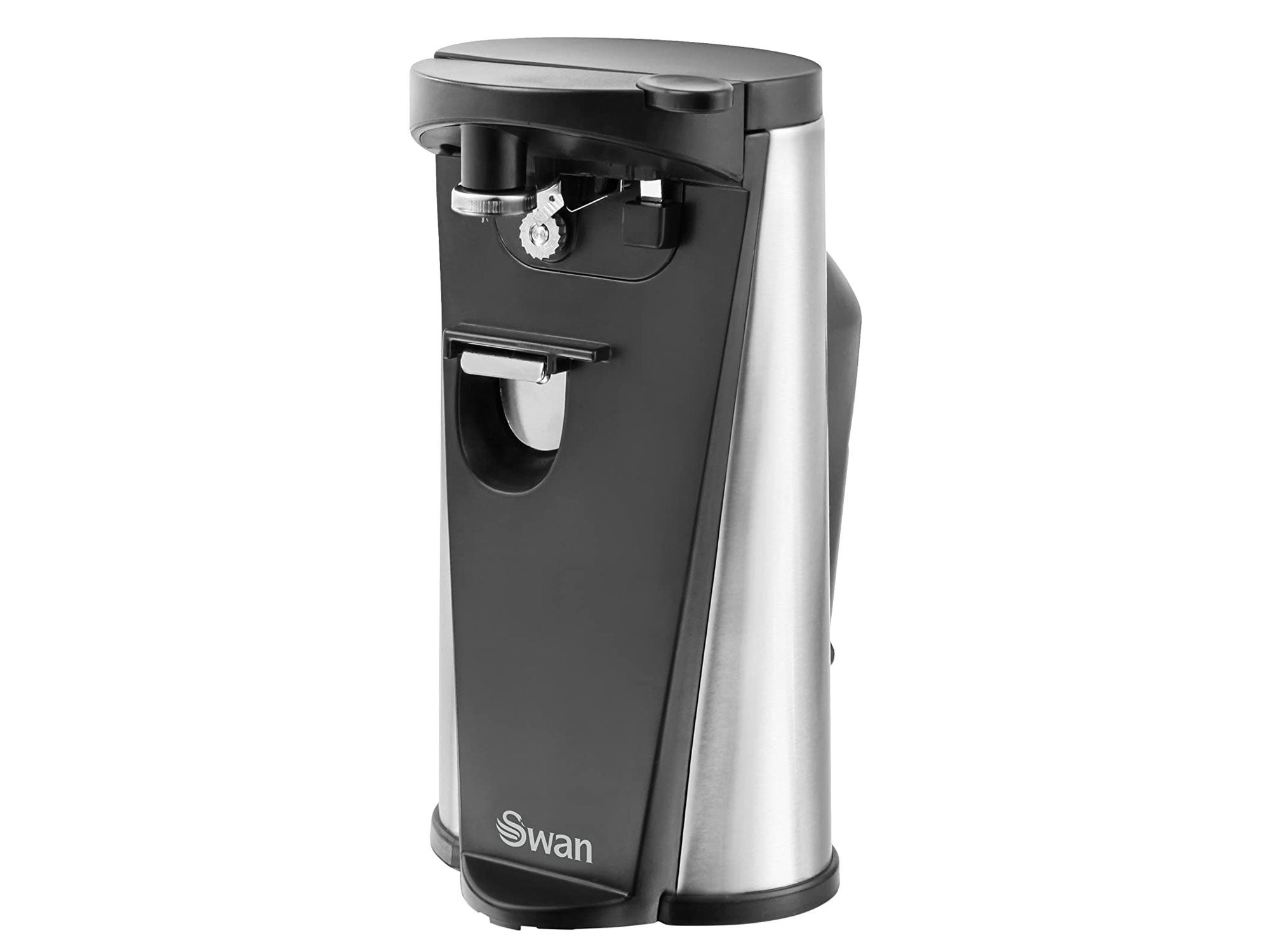 Swan 3-in-1 Hands Free Can Tin, Including Knife Sharpener and Bottle Opener, stainless steel, 60 W, Black