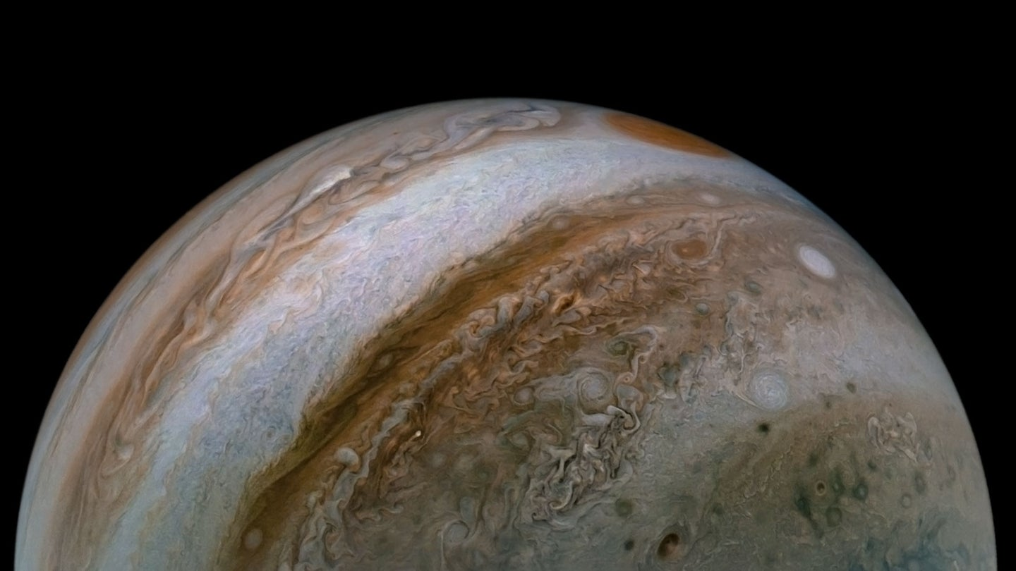 This view of Jupiter's turbulent atmosphere from NASA's Juno spacecraft includes several of the planet's southern jet streams.