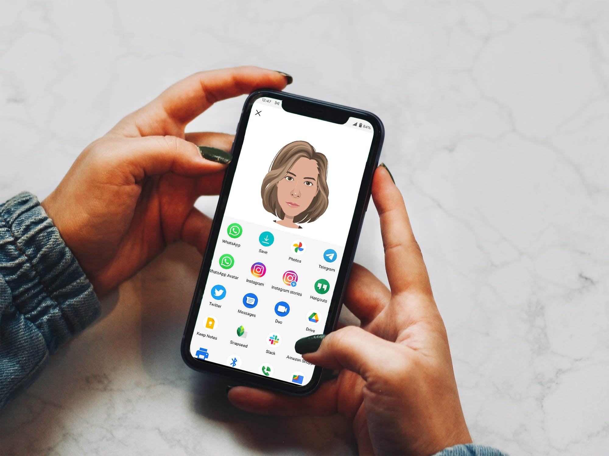 Person holding phone with avatar generator on screen