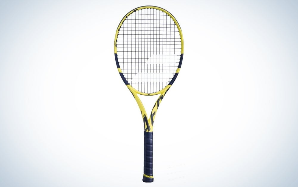yellow and black tennis racket with black grip