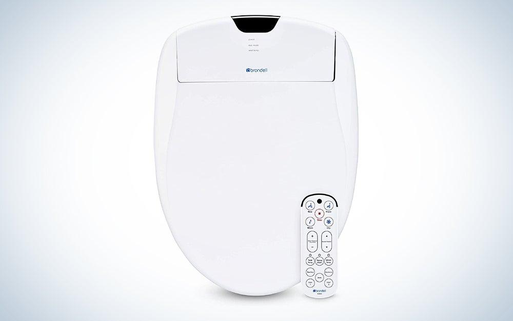 white bidet attachment with a remote