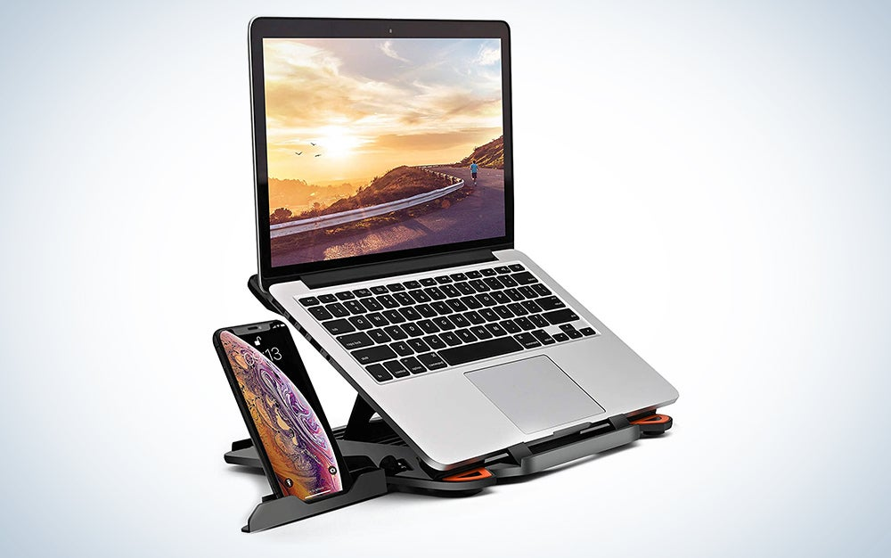 laptop stand for desk with phone stand