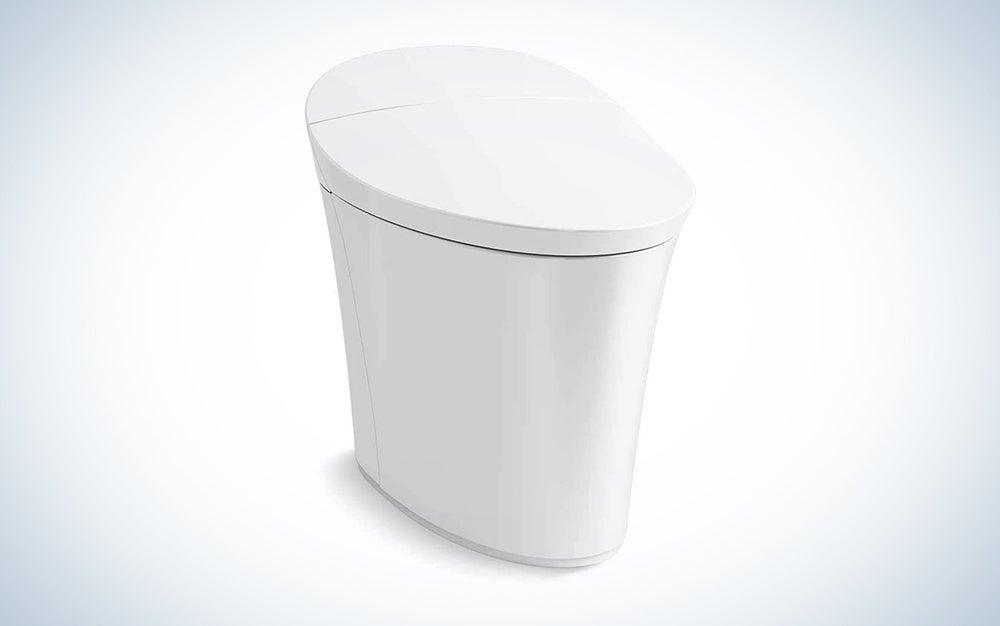 white sleek kohler bidet toilet