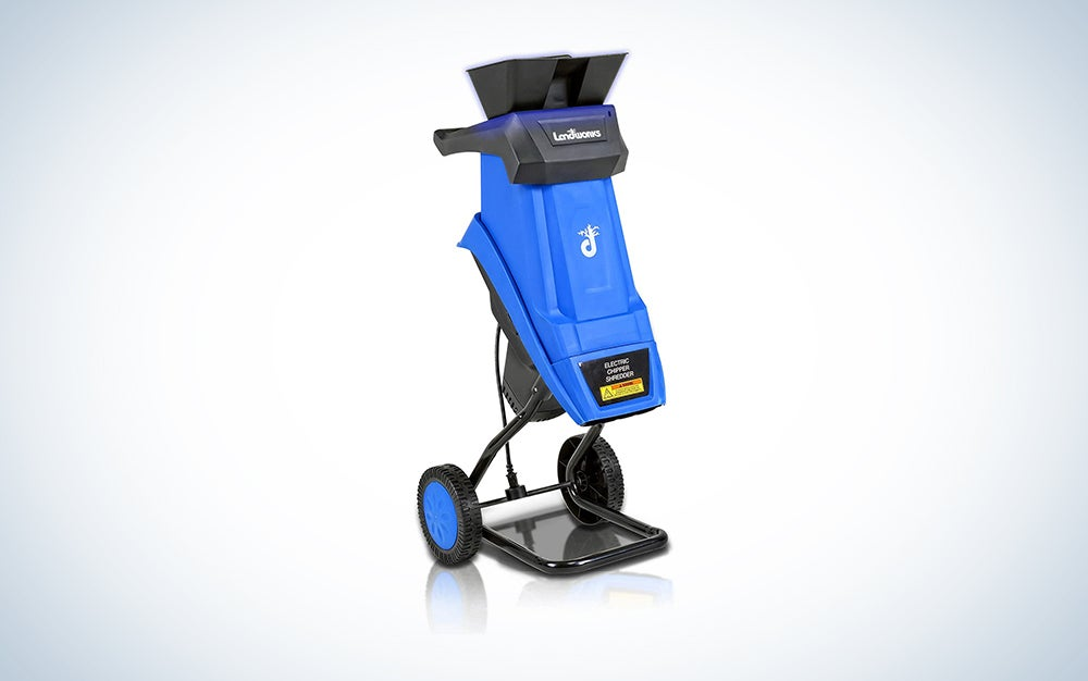 blue wood chipper on wheels