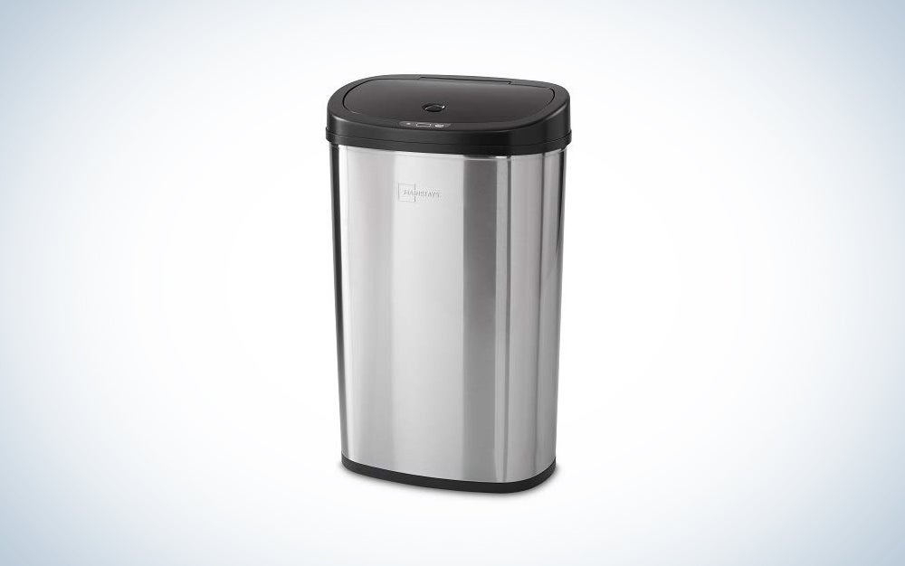 silver touchless trash can with dark top