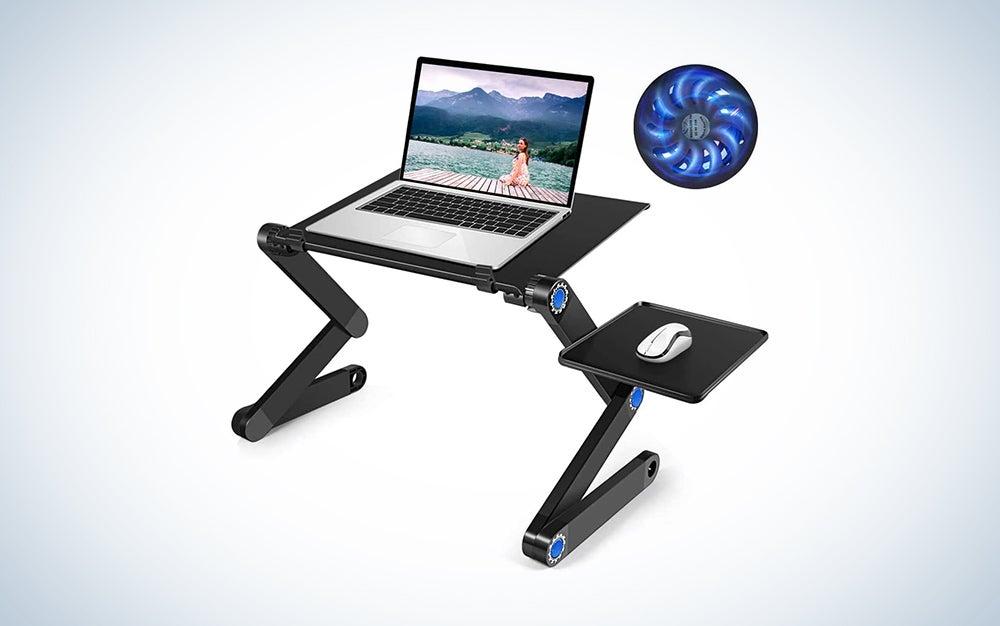 taller laptop riser with a fan
