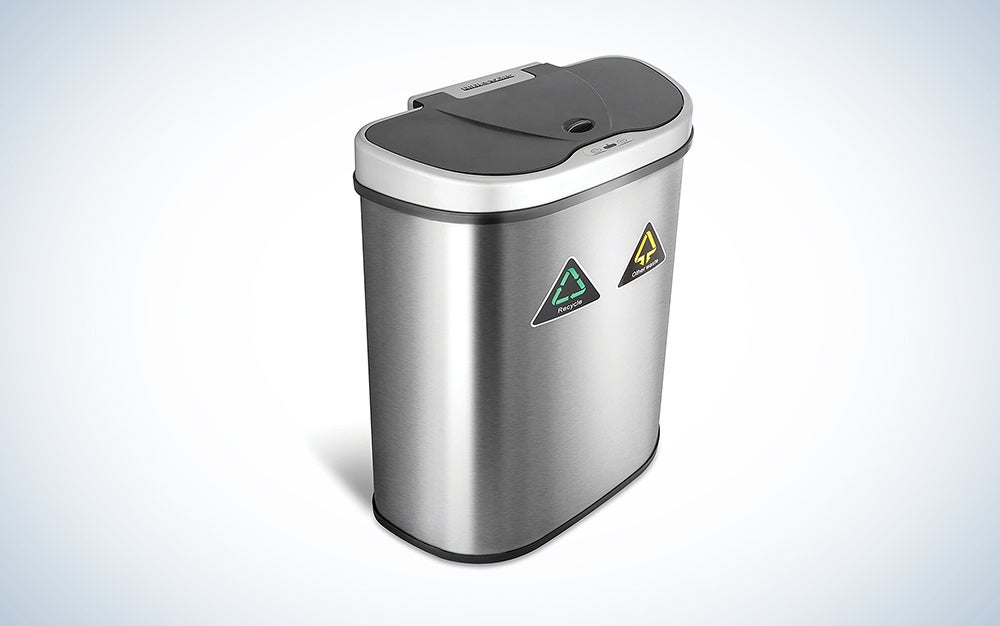 double compartment silver touchless trash can