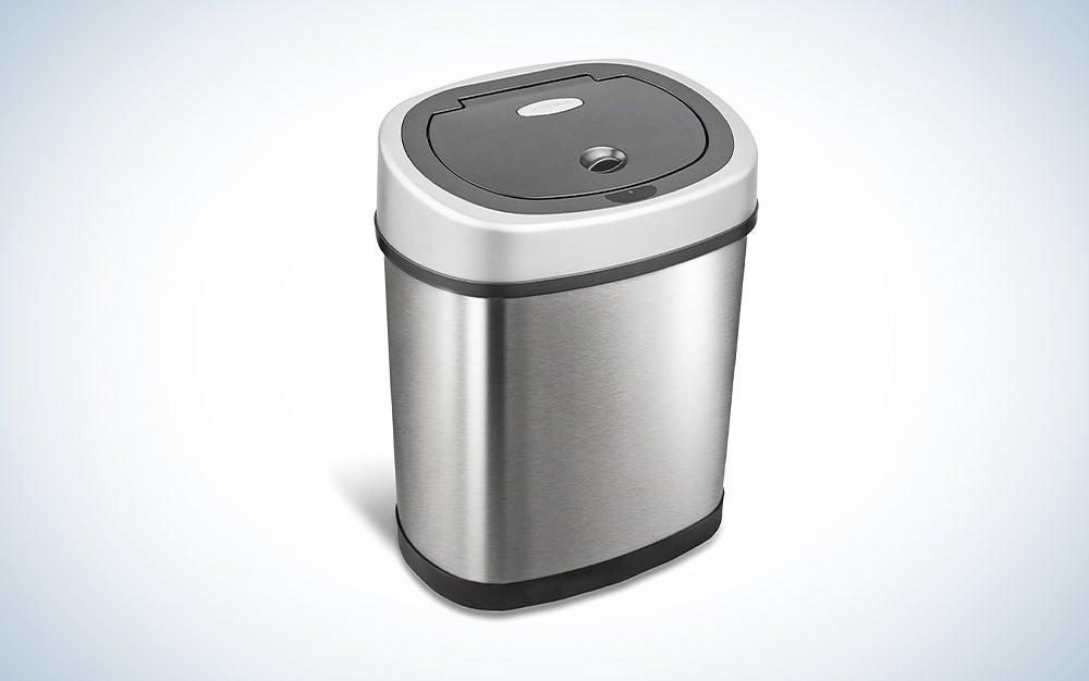 compact silver motion sensor trash can