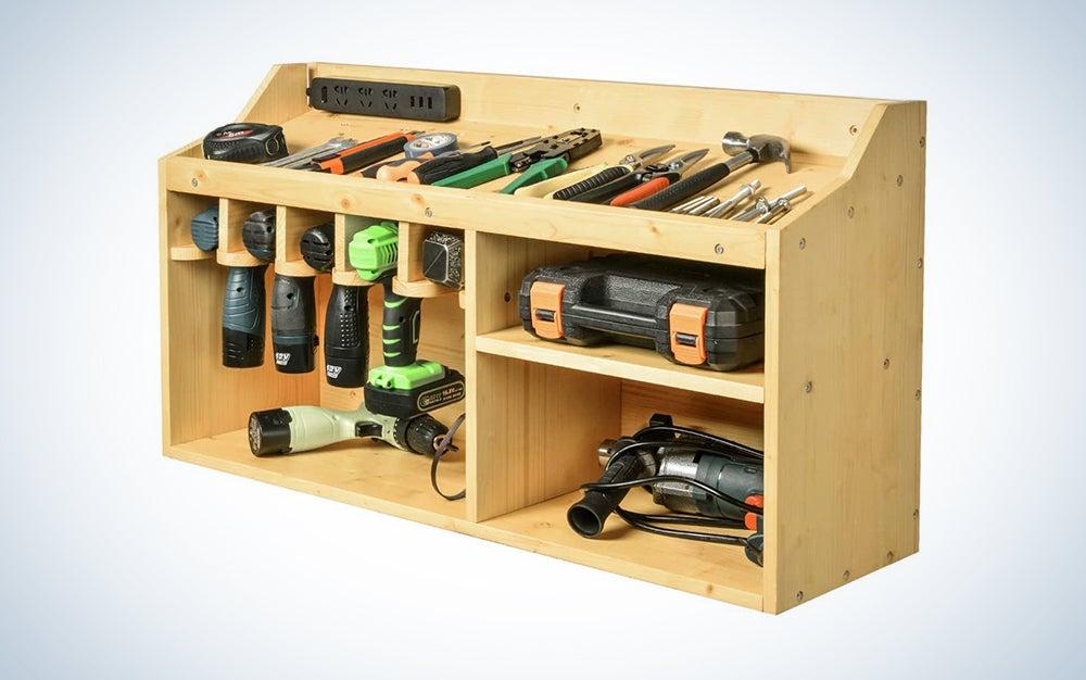 wooden garage storage with power tools