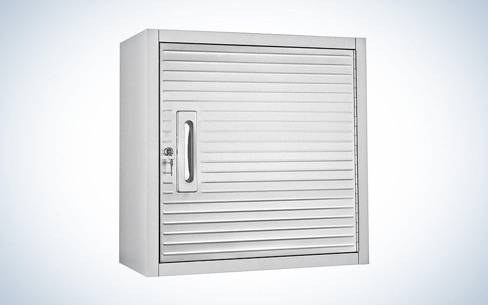 silver garage storage cabinet