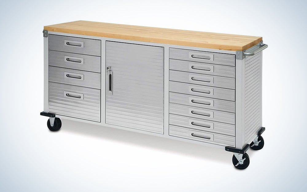 silver garage storage on wheels with wood top