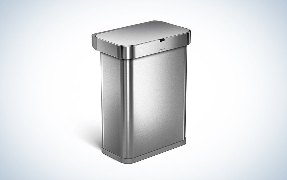 silver smart trash can