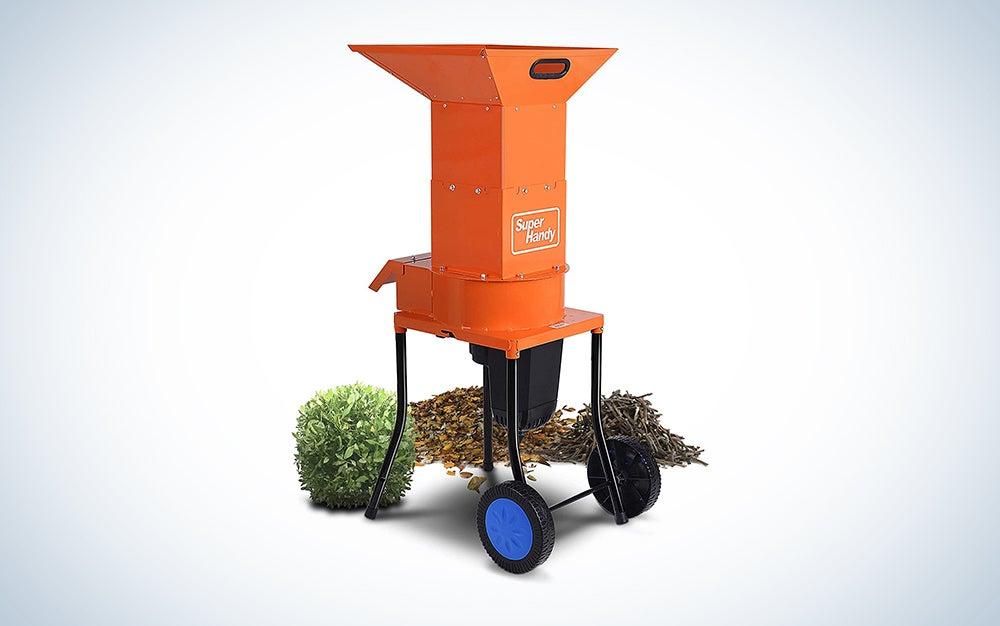 orange leaf mulcher on wheels