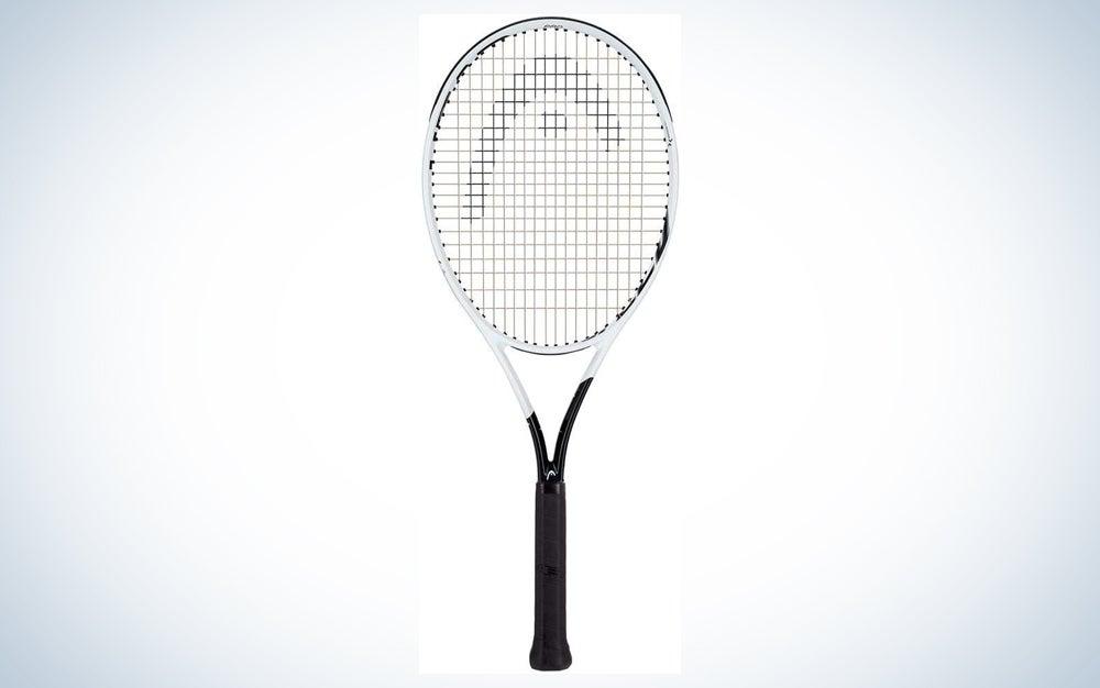 white tennis racket with black grip