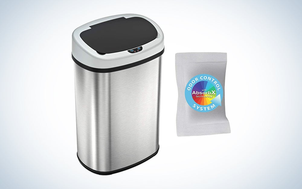 silver motion sensor trash can with dark lid
