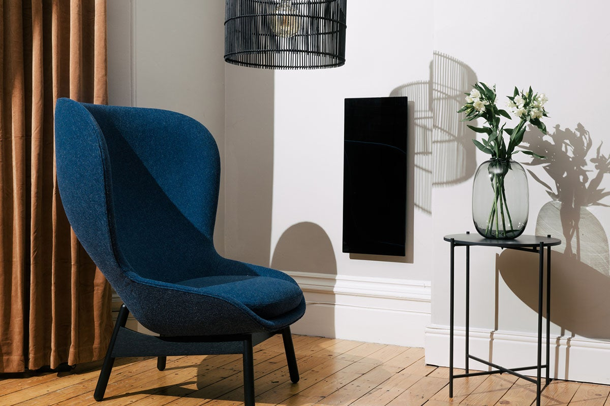 blue chair in a living room