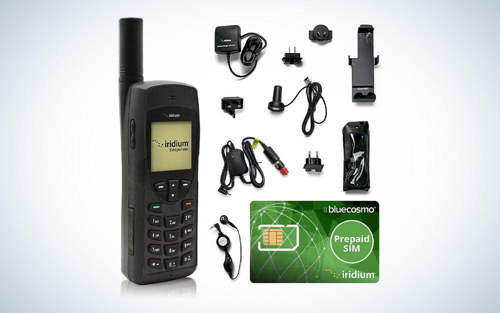 black satellite phone with accessories