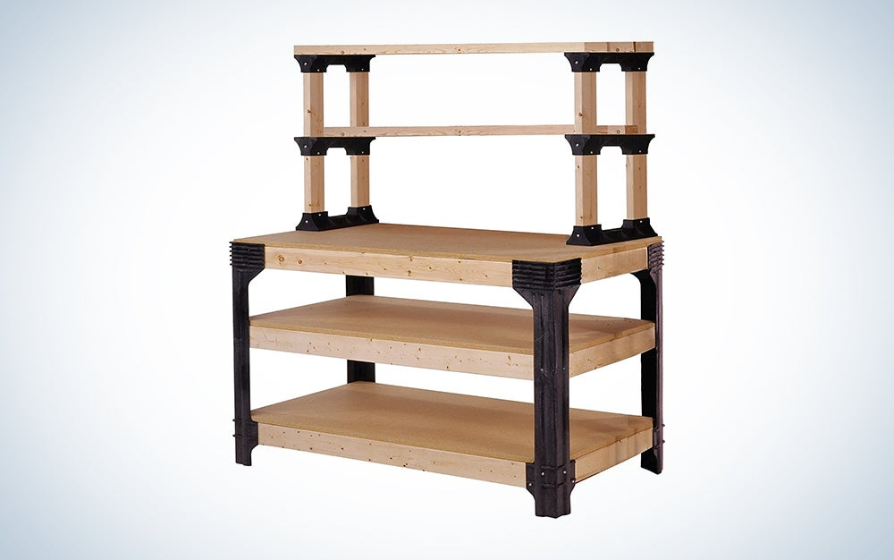 black and wood workbench for DIY projects and workshop tools