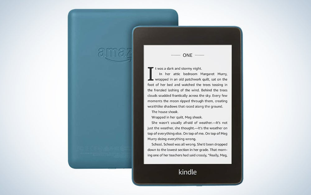 kindle paperwhite with a blue back