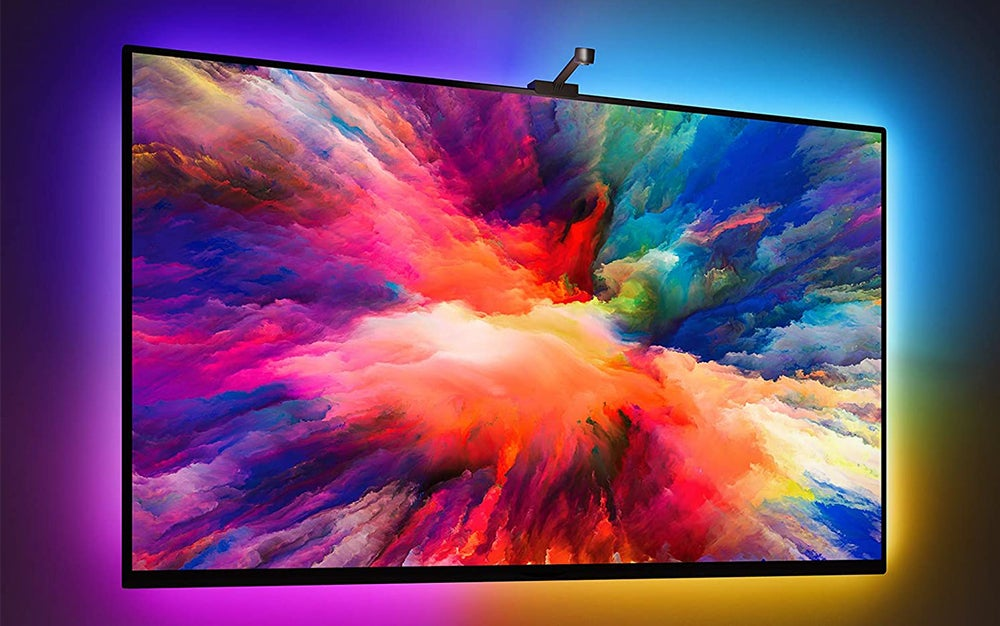 colorful tv with a camera on top