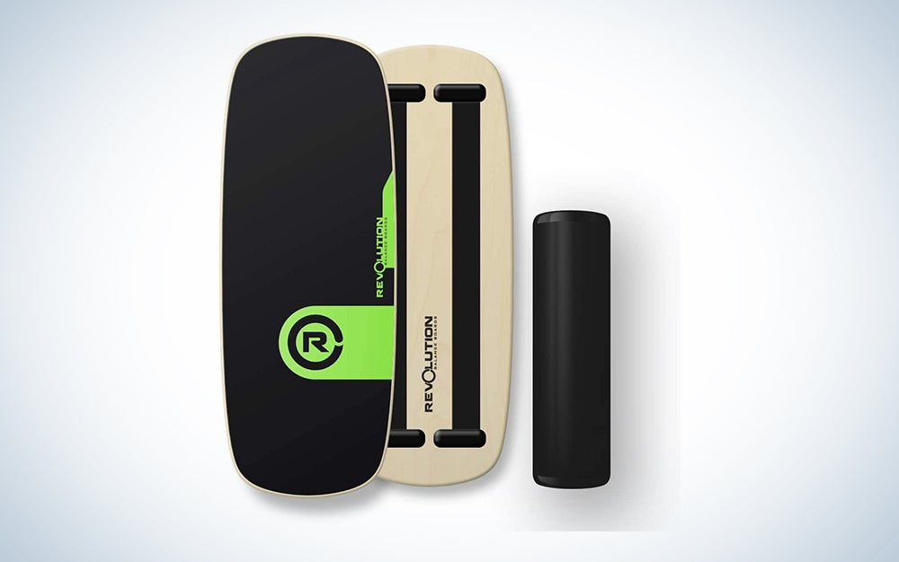 balance board with green coloring