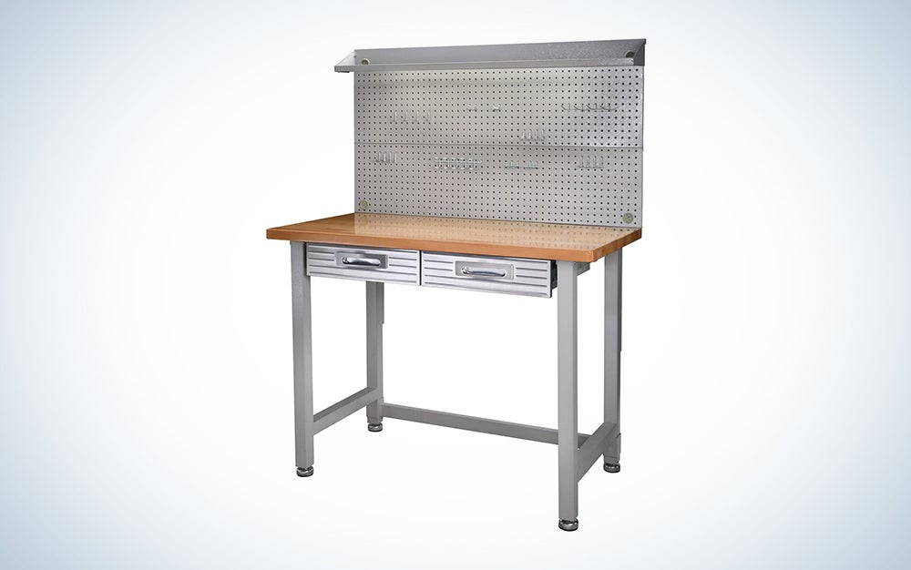 silver and wood workbench is a great garage workbench