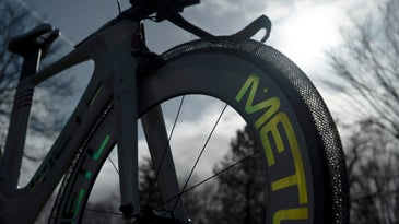 The METL bike tire on a bike with the sky in the background