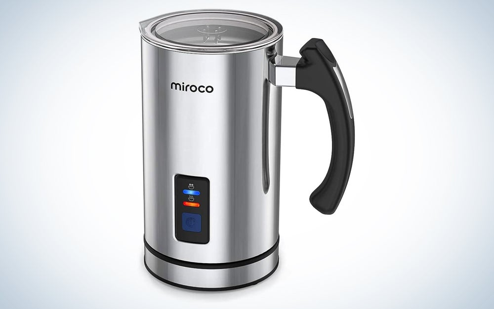 stainless steel milk frother with a black handle and blue and red lights to indicate temperature