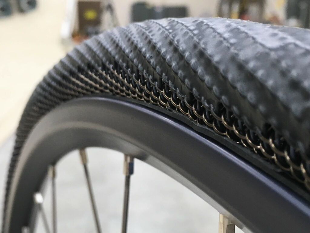 A close-up of the METL tire