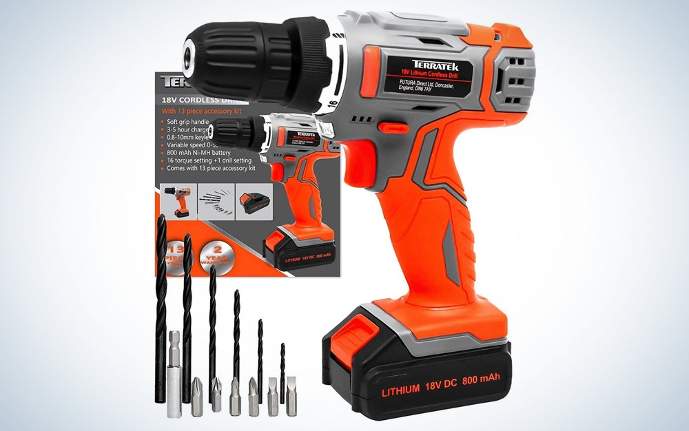 orange drill with bits and box