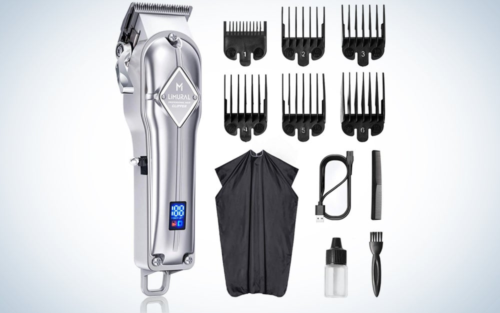 silver clippers with guide combs, cape, usb cable, brushes, and oil