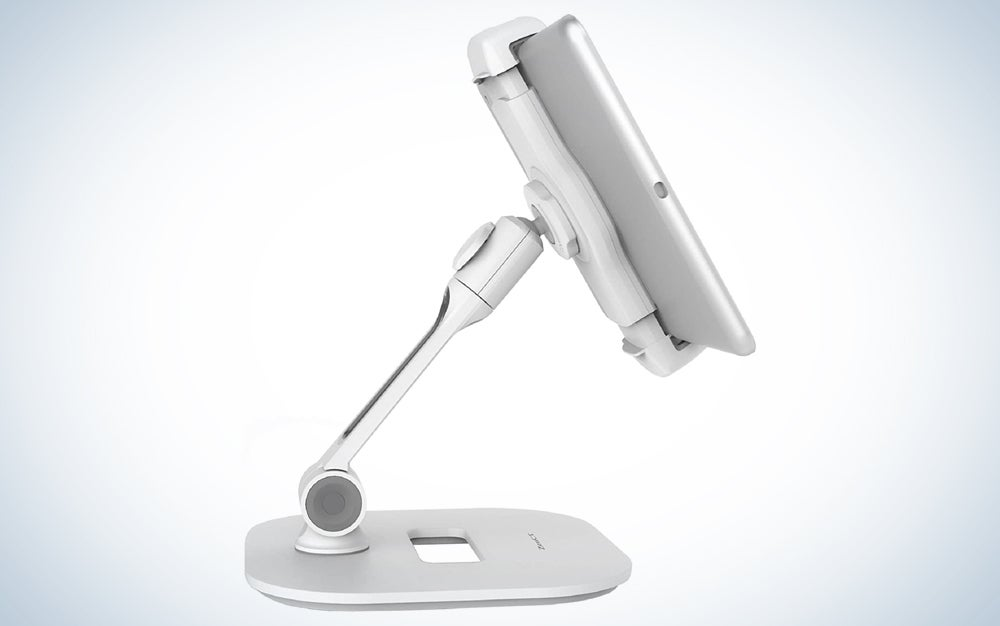 tablet on a silver stand that can adjust from the base and rotate