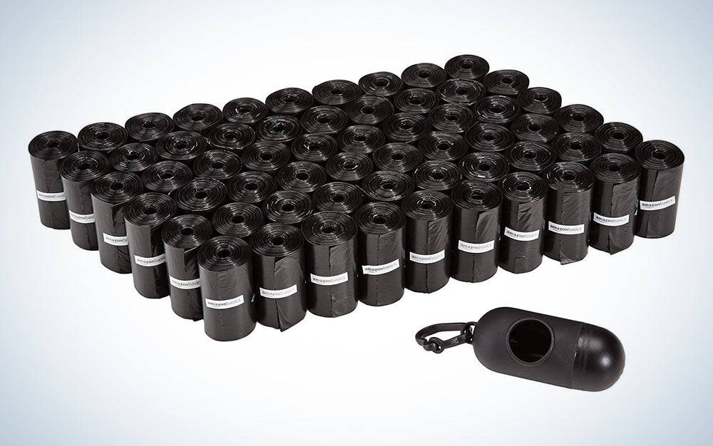 black plastic bags with a matching dispenser