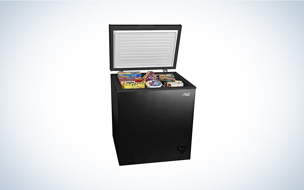 black Arctic King freezer chest with food in it