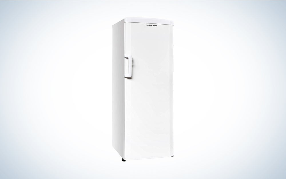 upright white freezer
