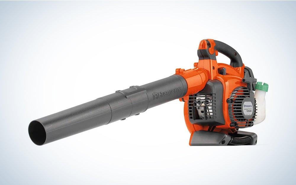 orange and black Husqvarna leaf blower vacuum