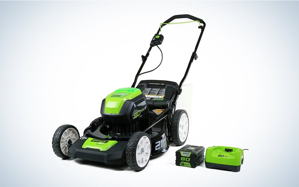 Greenworks mower with battery on the side