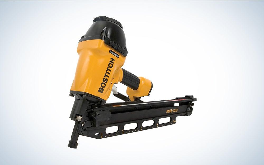 yellow and black Bostitch nail gun
