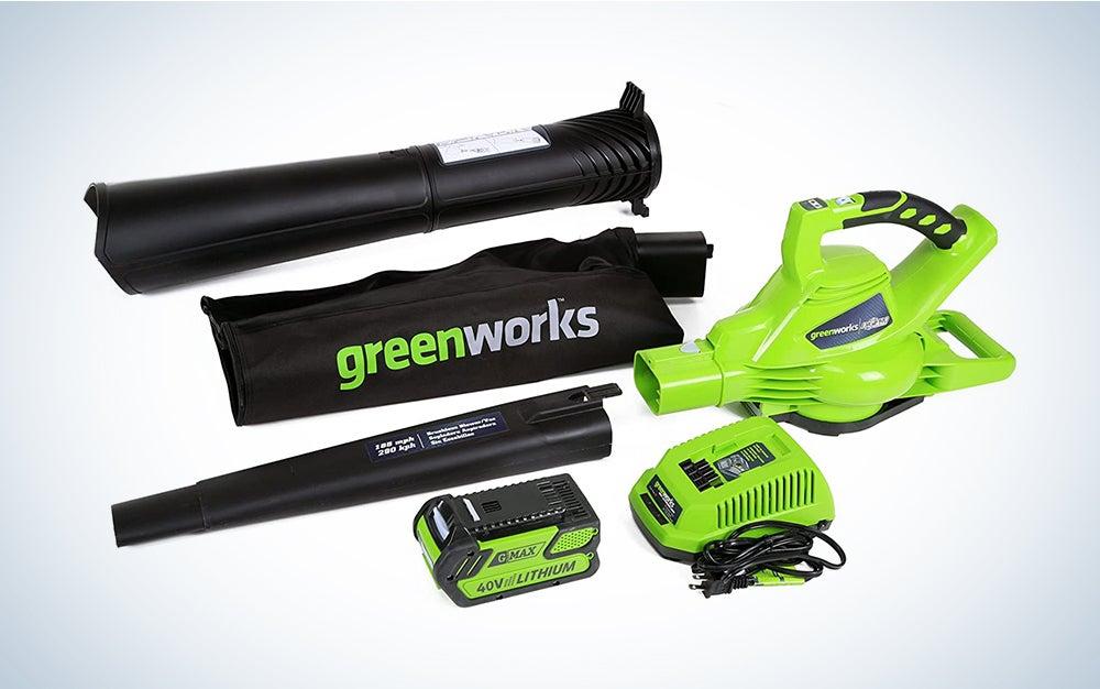 greenworks leaf blower vacuum with accessories