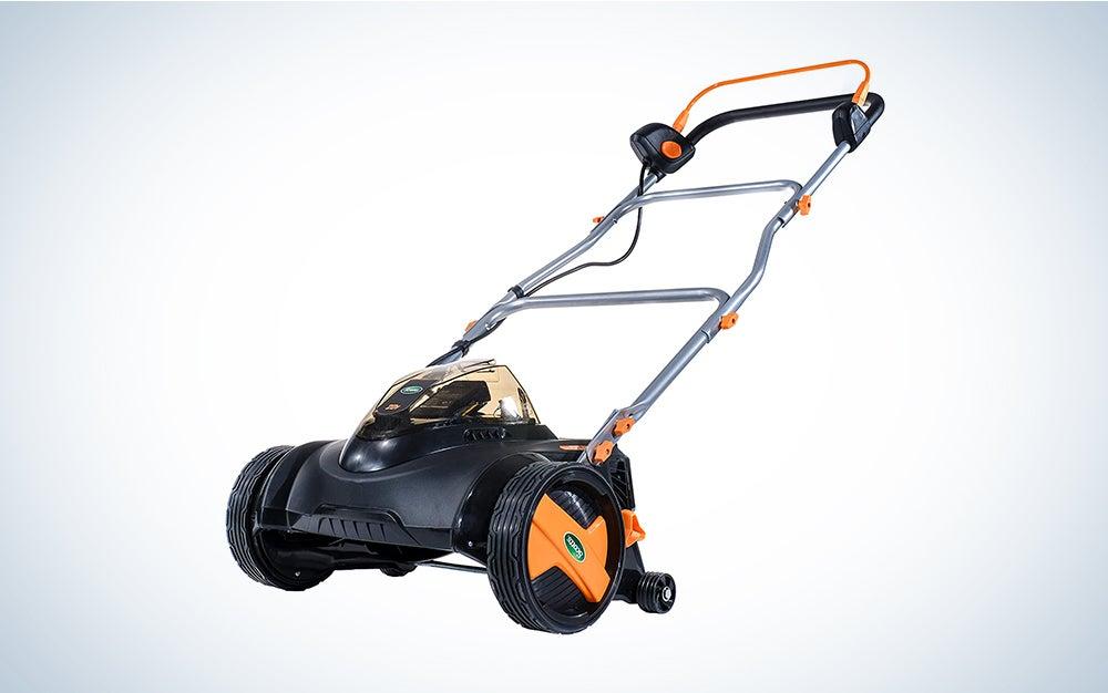 orange and black Scotts reel mower