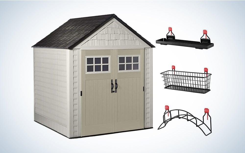 beige storage shed