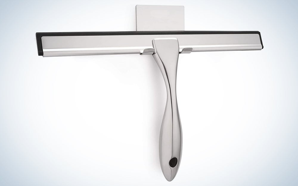 metal squeegee hanging in a mount