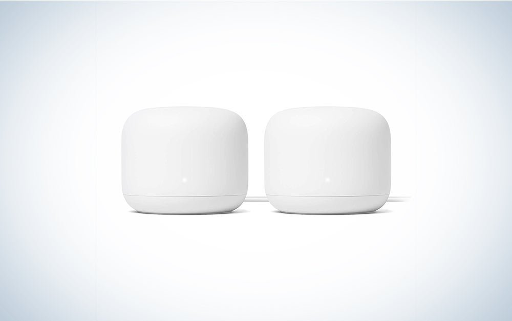 two white mesh wifi routers