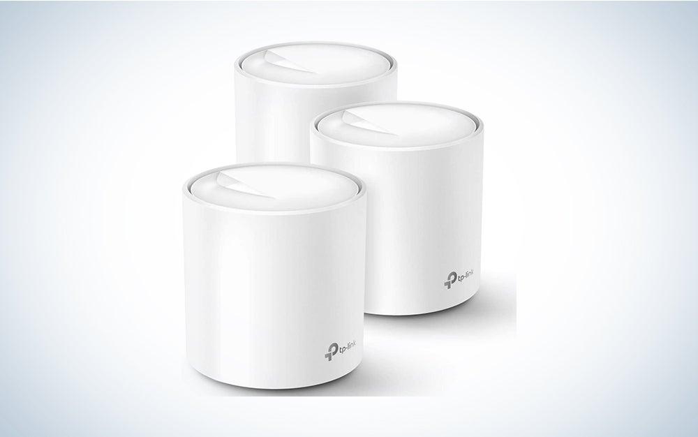 three white mesh wifi towers