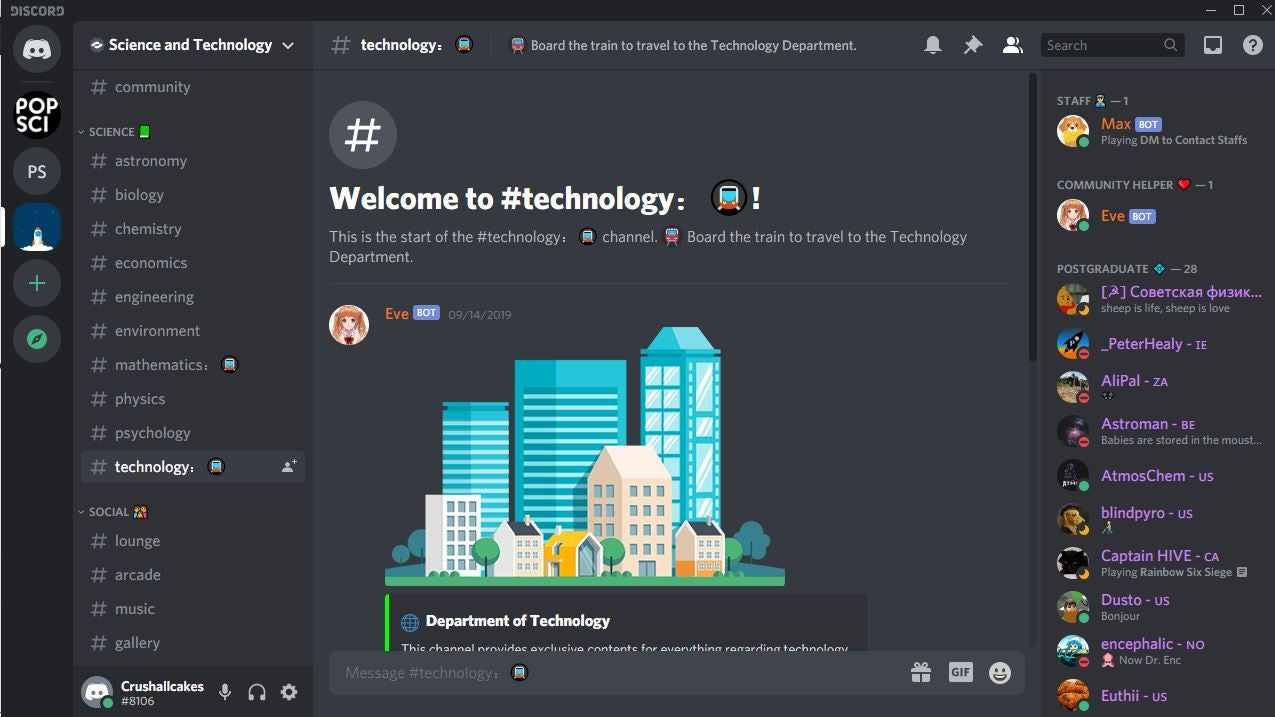 Discord screenshot of the Science and Technology channel