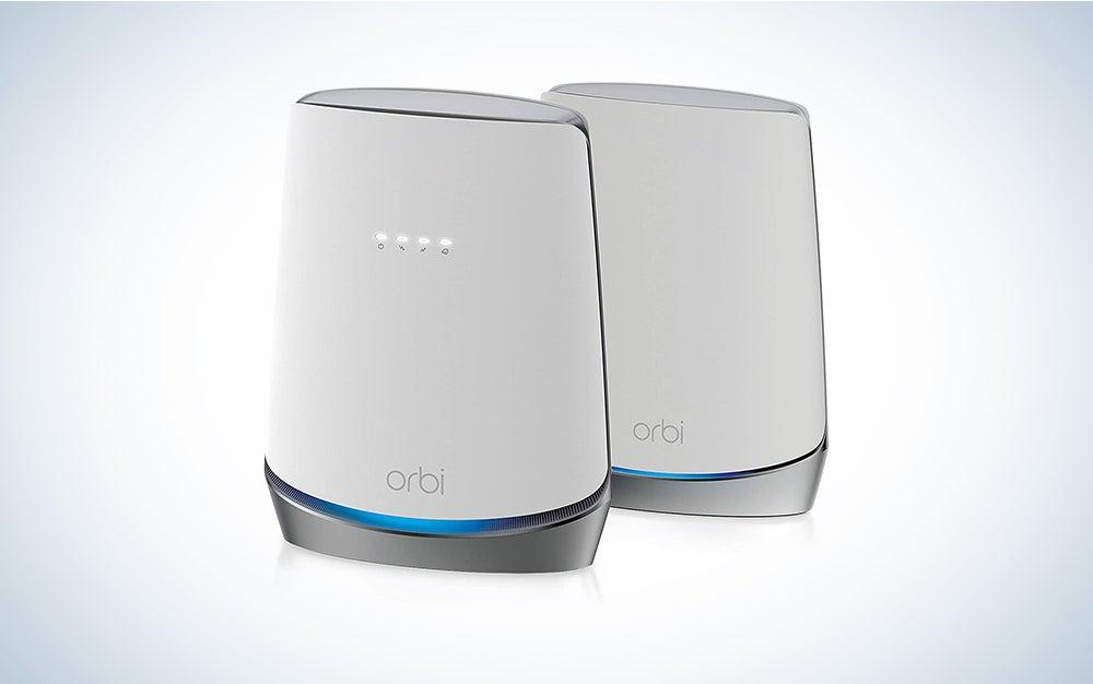 two white netgear mesh wifi routers