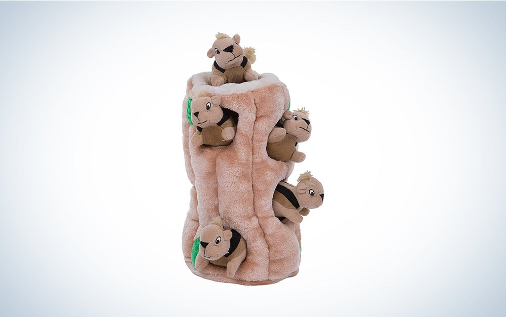 squirrel and log dog puzzle toy