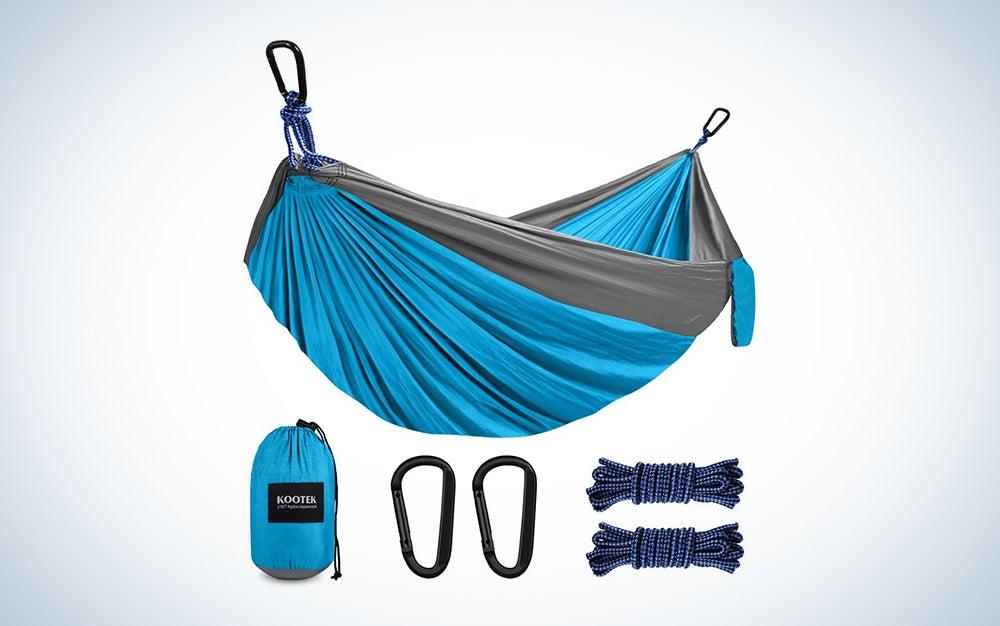 blue camping hammock