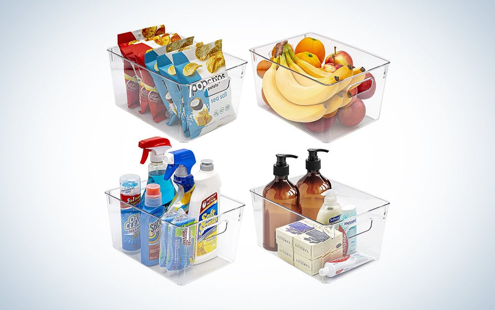 clear storage bins with food or toiletries