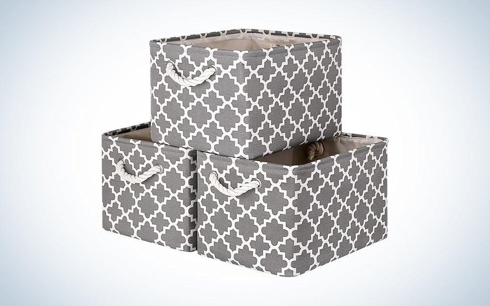 grey and white pattern fabric storage bin